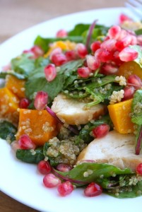 Kale Salad with Pomegranate Seeds, Roasted Butternut Squash & Quinoa