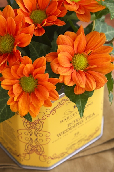 Repurposed Tea Tin Flower Vases