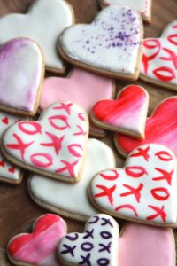 Valentine's Day Watercolor Heart Cookies